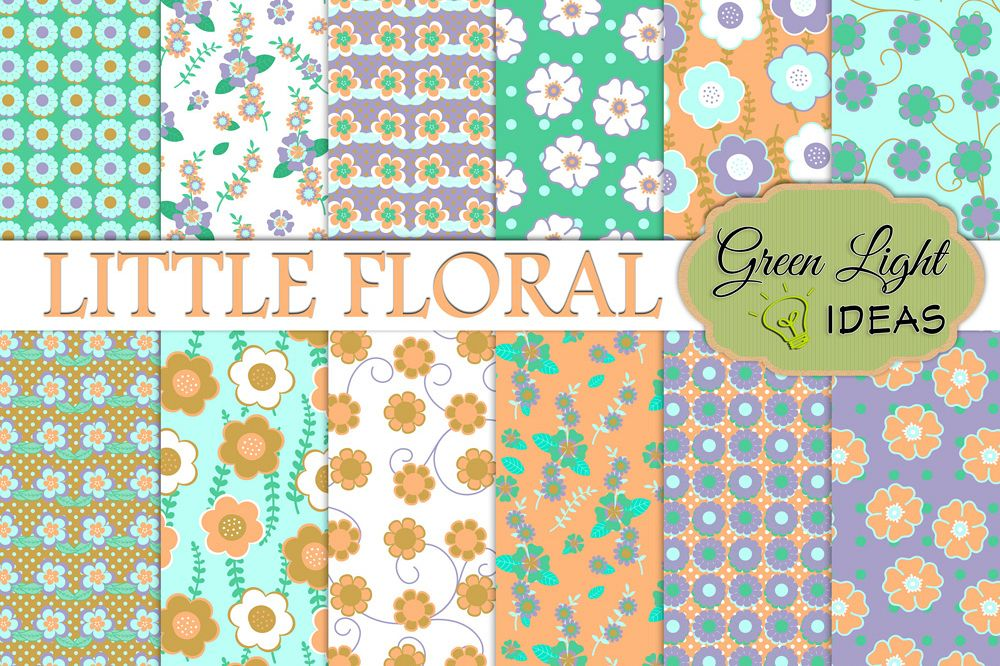 Little Floral Digital Papers, Spring Backgrounds example image 1