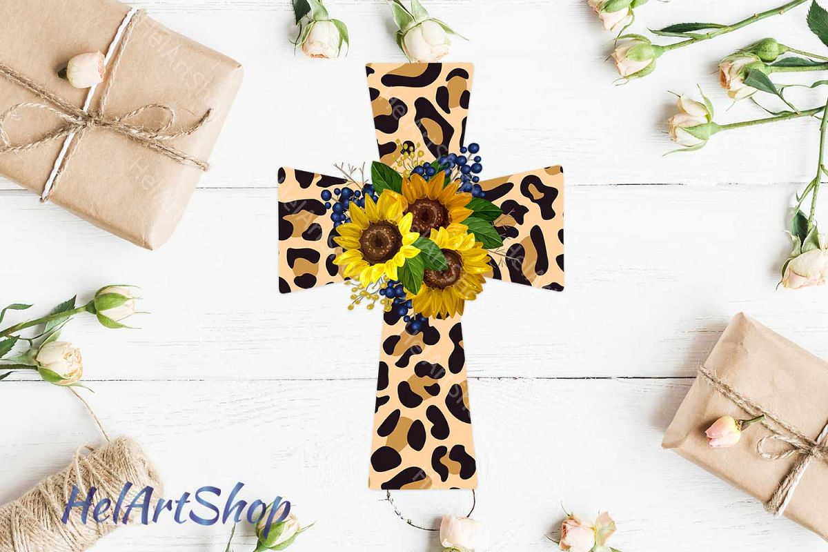 Cross Png, Sunflower, Faith png, Sublimation png, Leopard cr example image 1