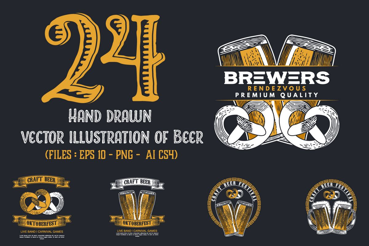 24 Hand drawn vector illustration of Beer example image 1
