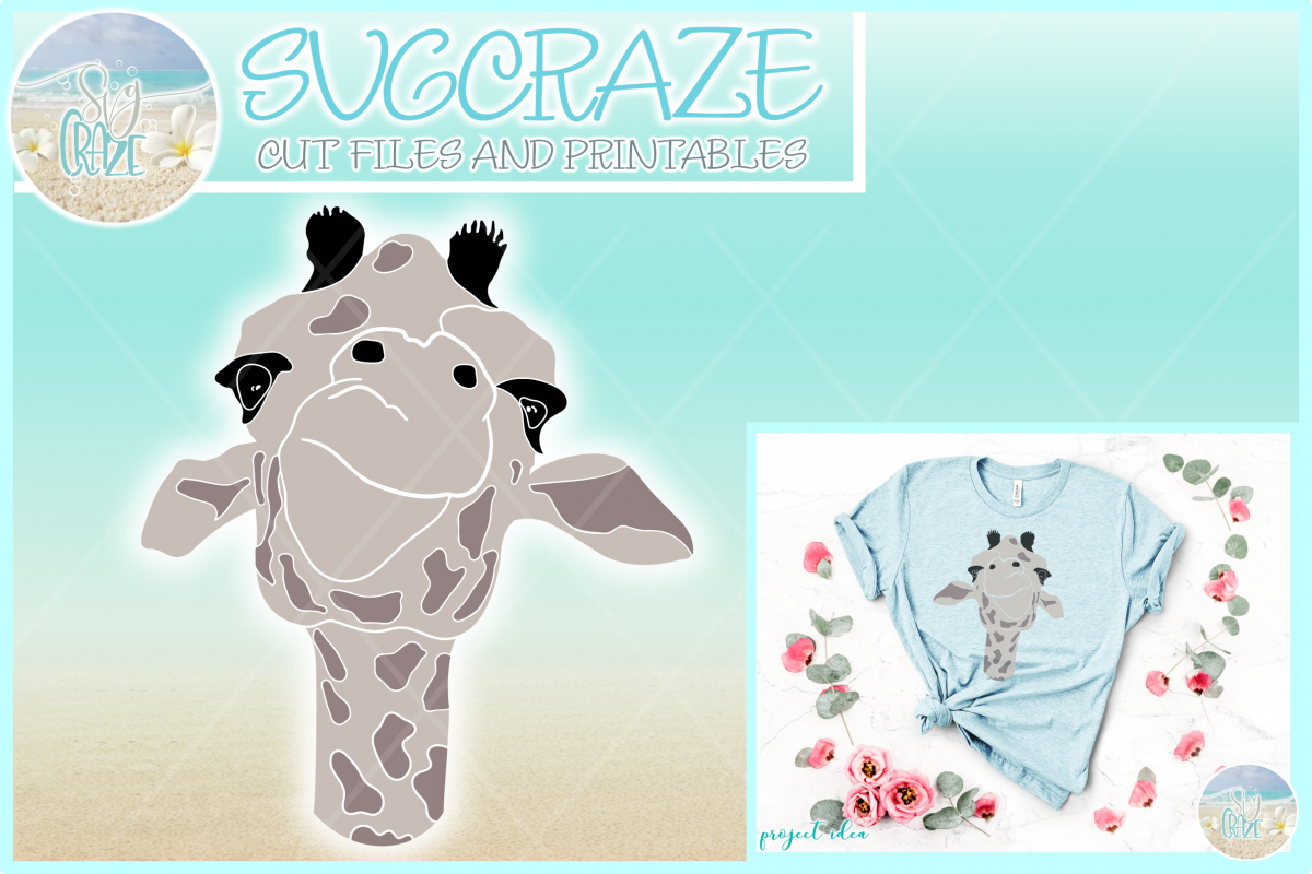 Cute Giraffe Face Svg Dxf Eps Png Pdf Files For Cricut example image 1