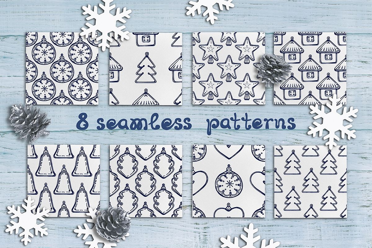 8 hand drawn seamless patterns with Christmas decorations example image 1