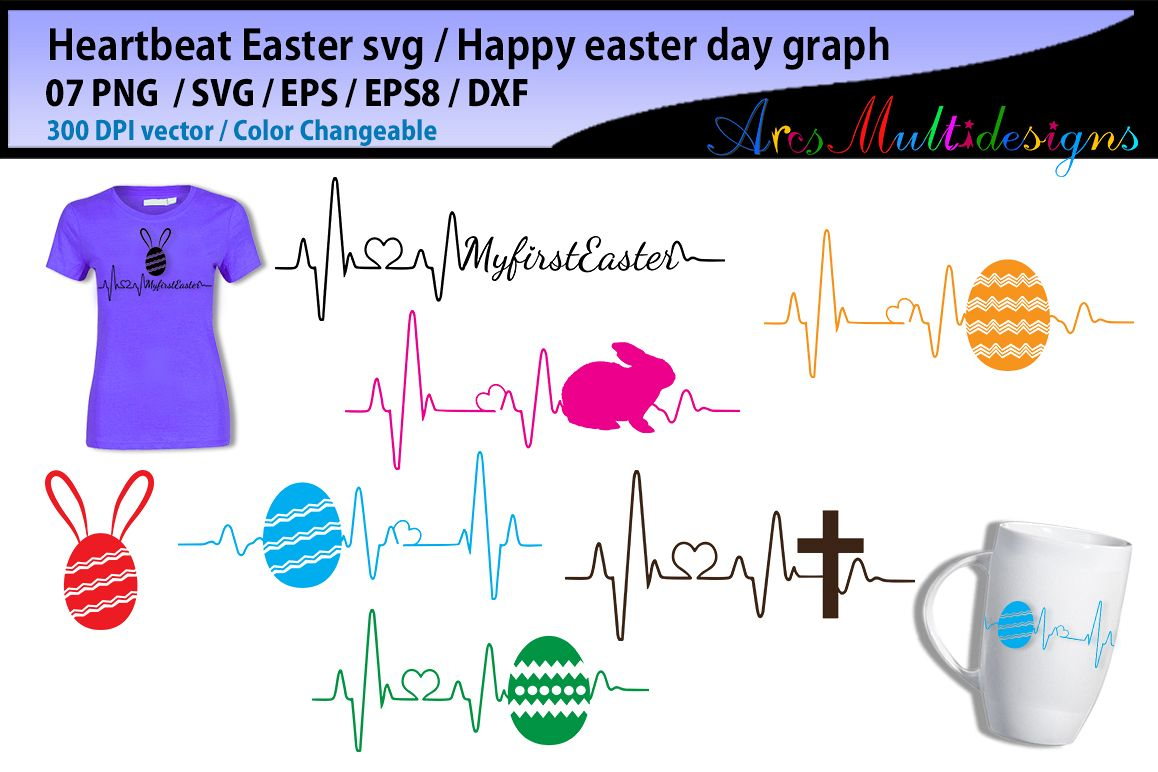 happy easter day svg vector / heartbeat graphics and illustration / easter heartbeat example image 1