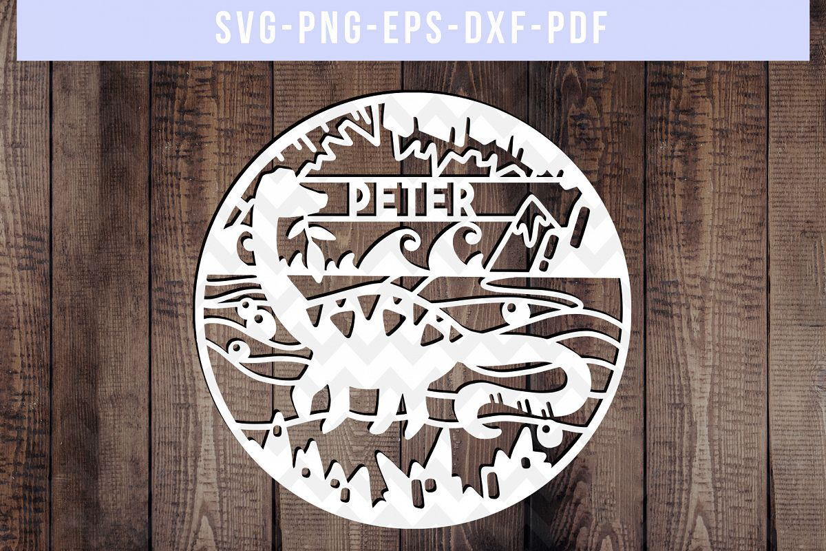 Customizable Brontosaurus Dinosaur Papercut Template, SVG example image 1