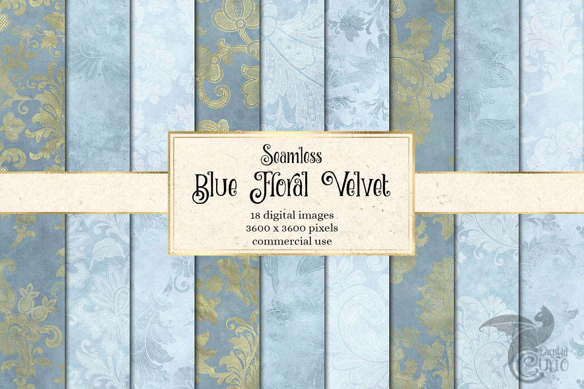 Blue Floral Velvet Digital Paper example image 1
