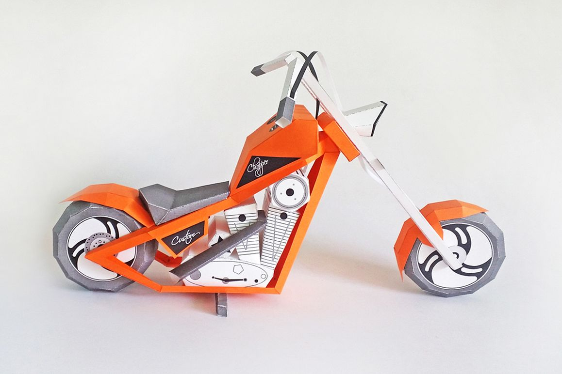 DIY Paper bike - 3d papercraft example image 1
