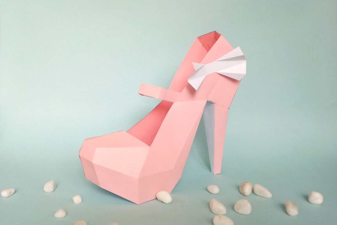 DIY Nude Pump shoes - 3d papercraft example image 1