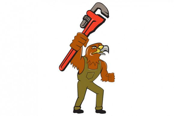 Hawk Plumber Pipe Wrench Cartoon example image 1