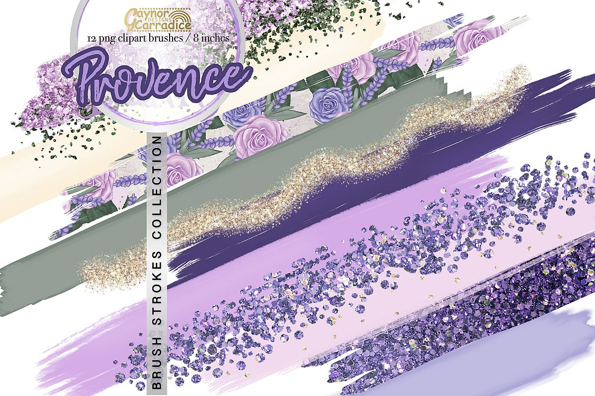 Provence - lavender paint brush strokes collection example image 1