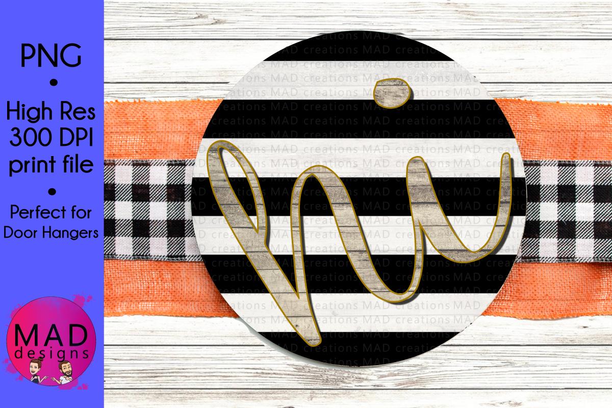 hi - Round Door Hanger Sign - Black and White Stripes example image 1