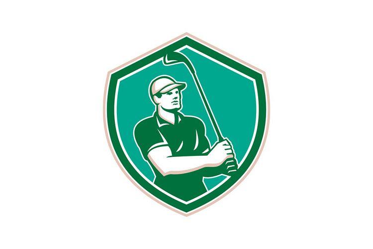 Golfer Tee Off Golf Shield Retro example image 1