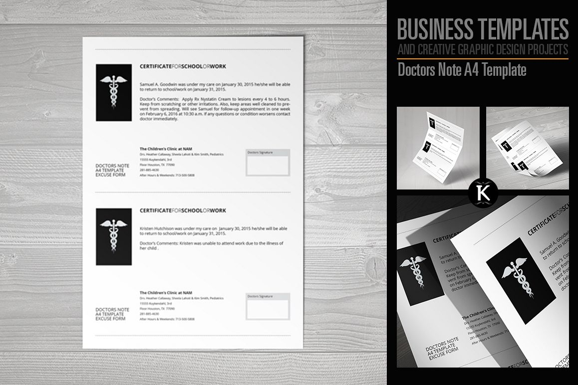 Doctors Note A4 Template example image 1