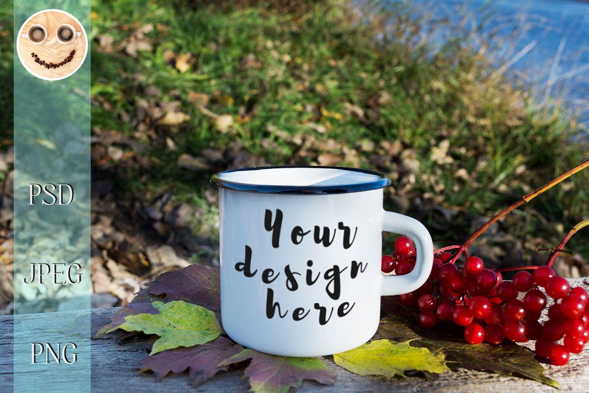 White campfire mug mockup with viburnum example image 1