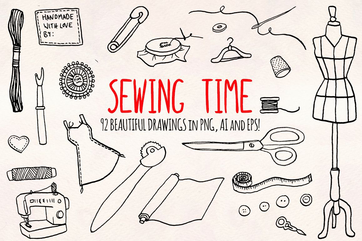 90 Sewing, Dressmaker and Craft Vector Graphics example image 1