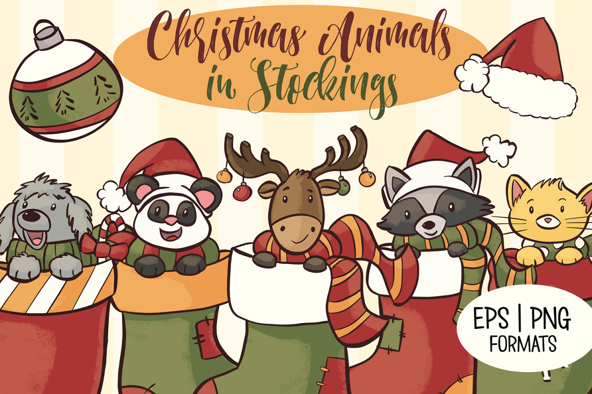 Cute Animals In Christmas Stocking Illustrations example image 1