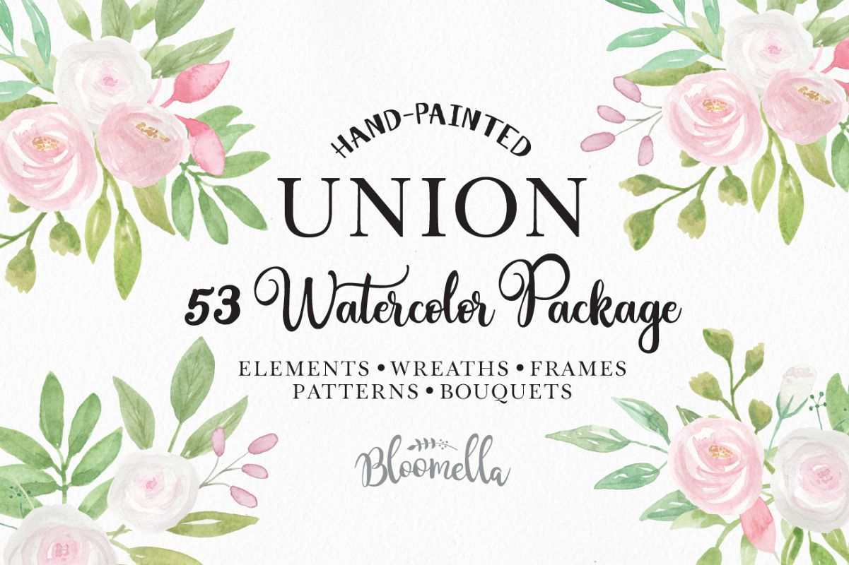 Union Pink White Floral Clipart Watercolor Flower Wedding Package