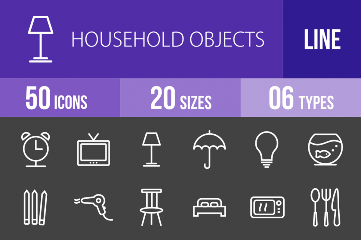 50 Household Objects Line Inverted Icons example image 1