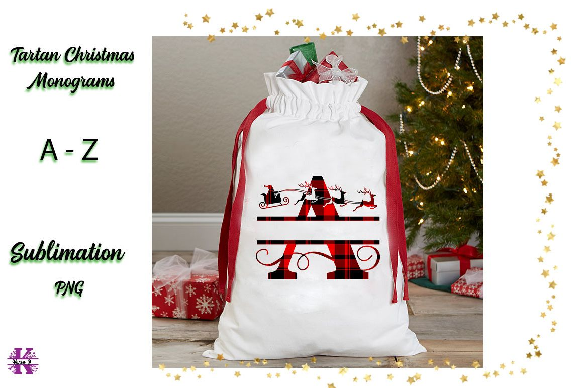Tartan Sublimation Christmas Monograms example image 1
