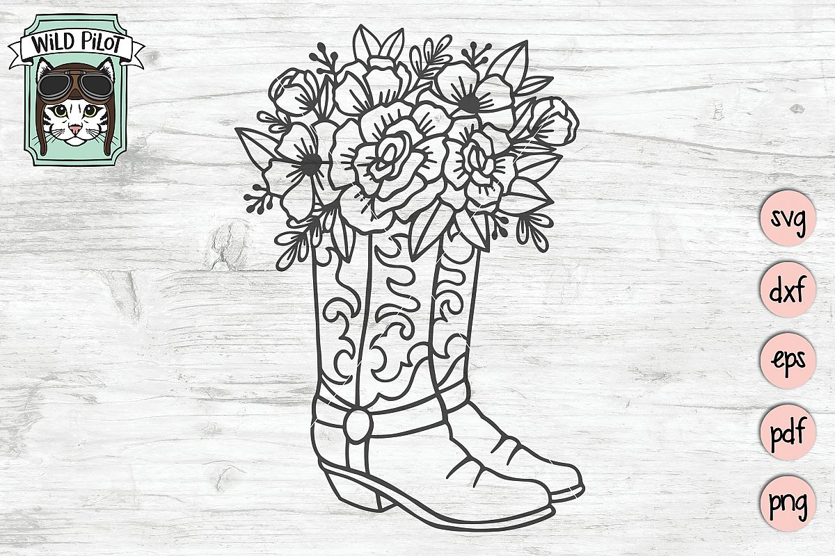 Floral Cowboy Boots svg file, Country, Rodeo, Cowgirl example image 1