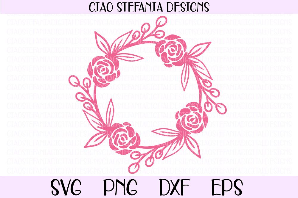 Rose Wreath Flowers Frame SVG PNG DXF EPS Cut File example image 1