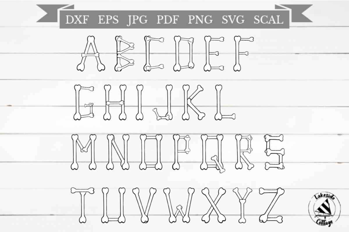 Skeleton Alphabet Halloween Bones SVG Design example image 1