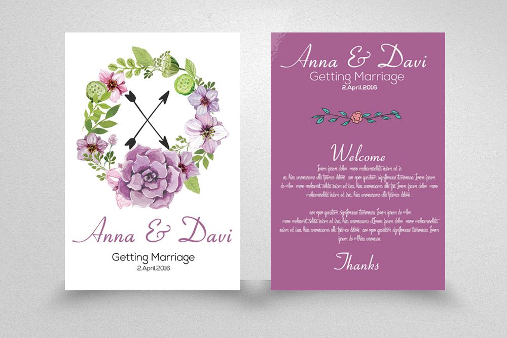 Double sided Invitation Wedding Cards example image 1