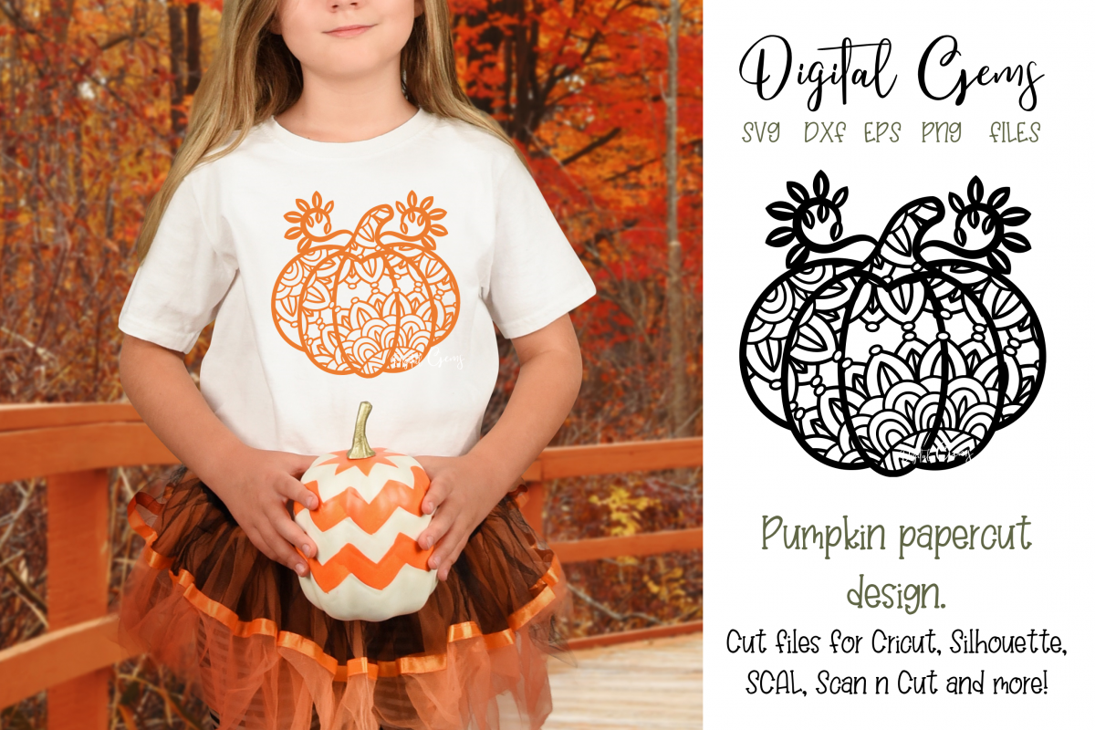 Pumpkin Paper Cut SVG / DXF / EPS / PNG Files example image 1