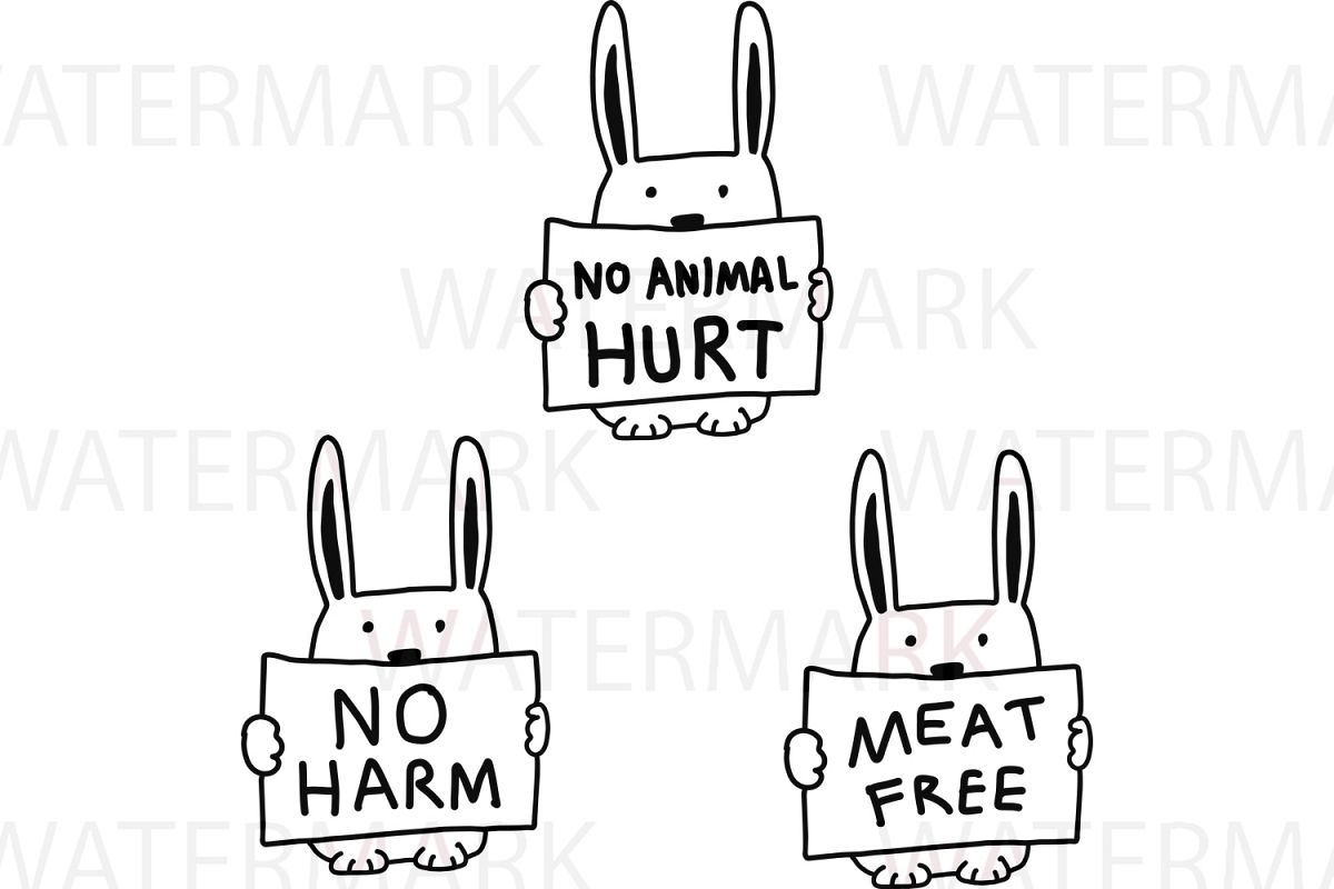 Rabbit with no animal hurt / no harm / meat free - SVG/JPG/PNG - Hand Drawing example image 1