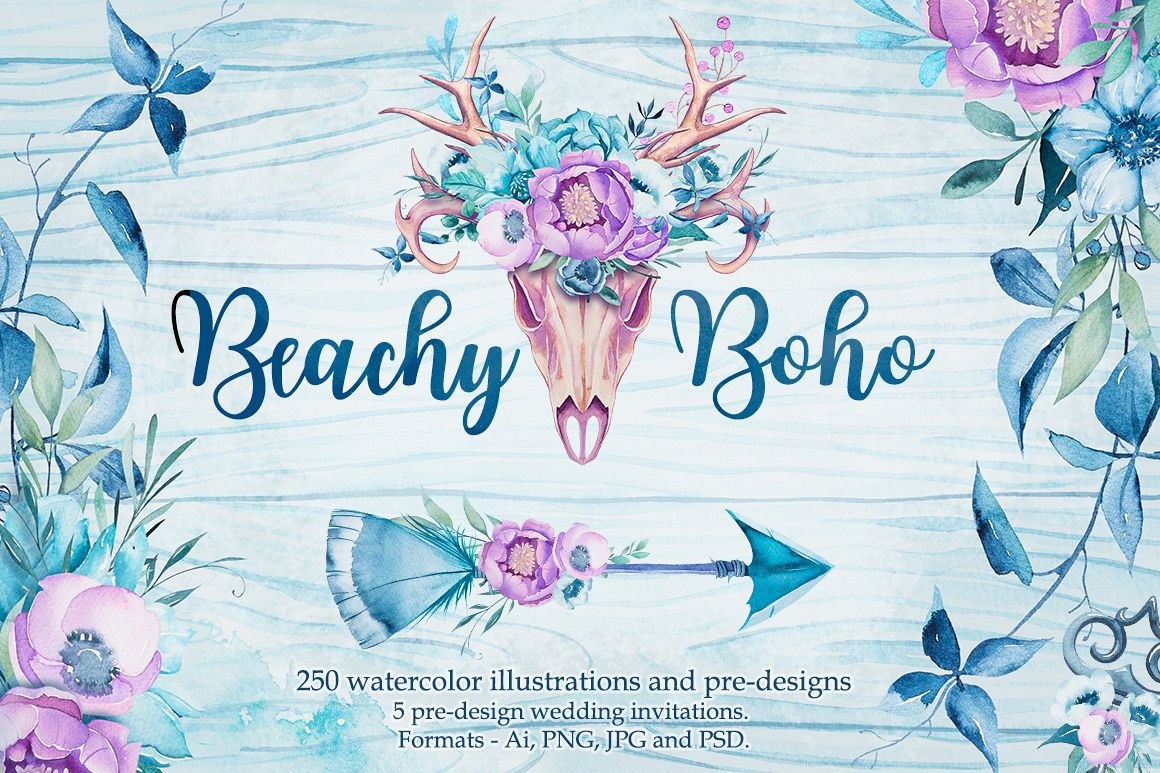 Beachy Boho watercolor example image 1