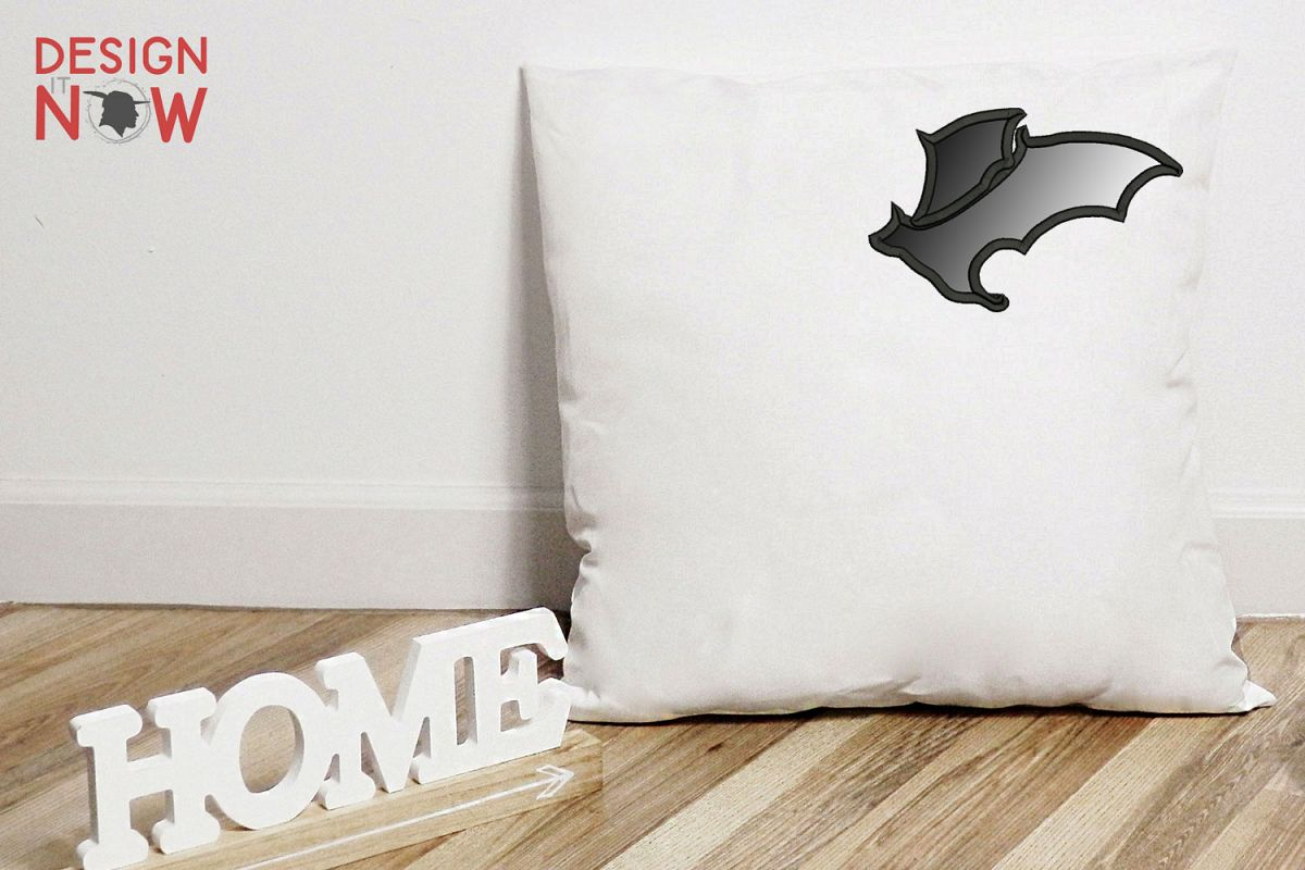 Bat Applique Design, Halloween Embroidery Pattern, Witch example image 1
