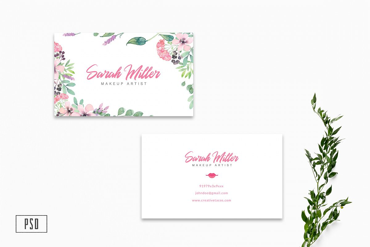 Floral Minimalist Business Card Template example image 1