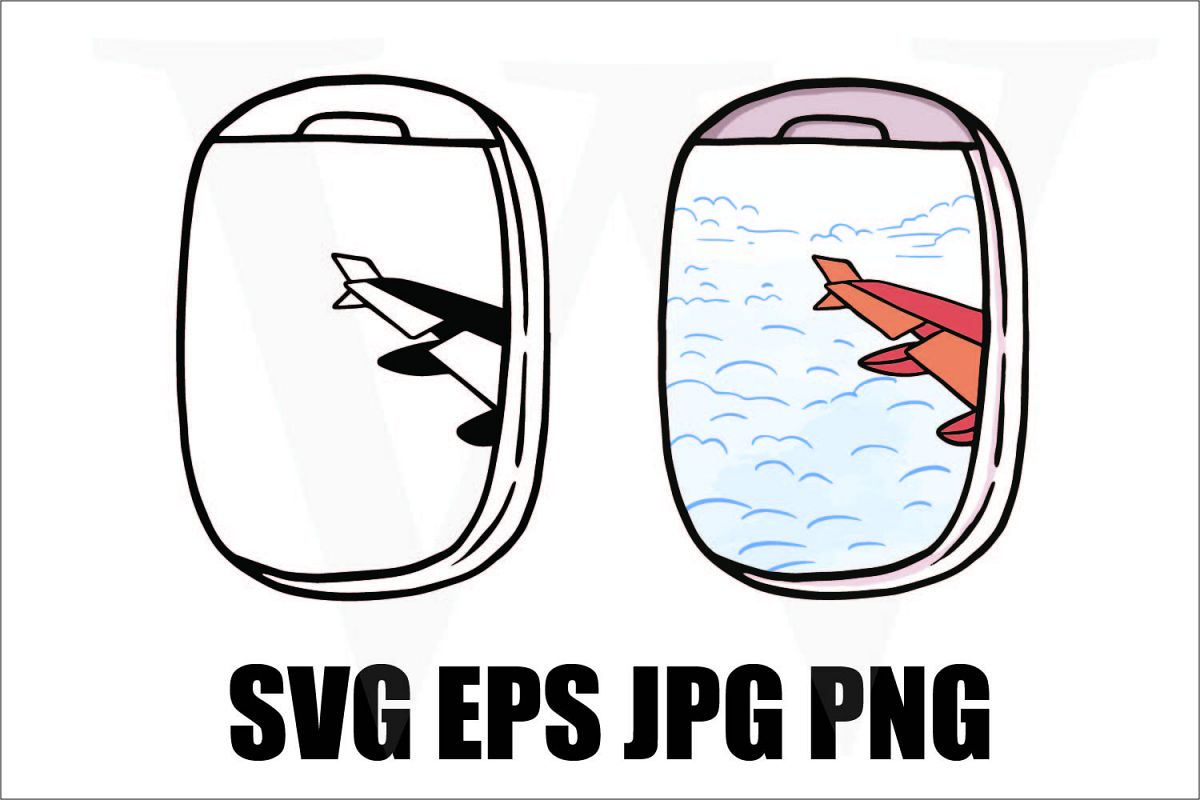 View from Airplane window - SVG EPS JPG PNG example image 1