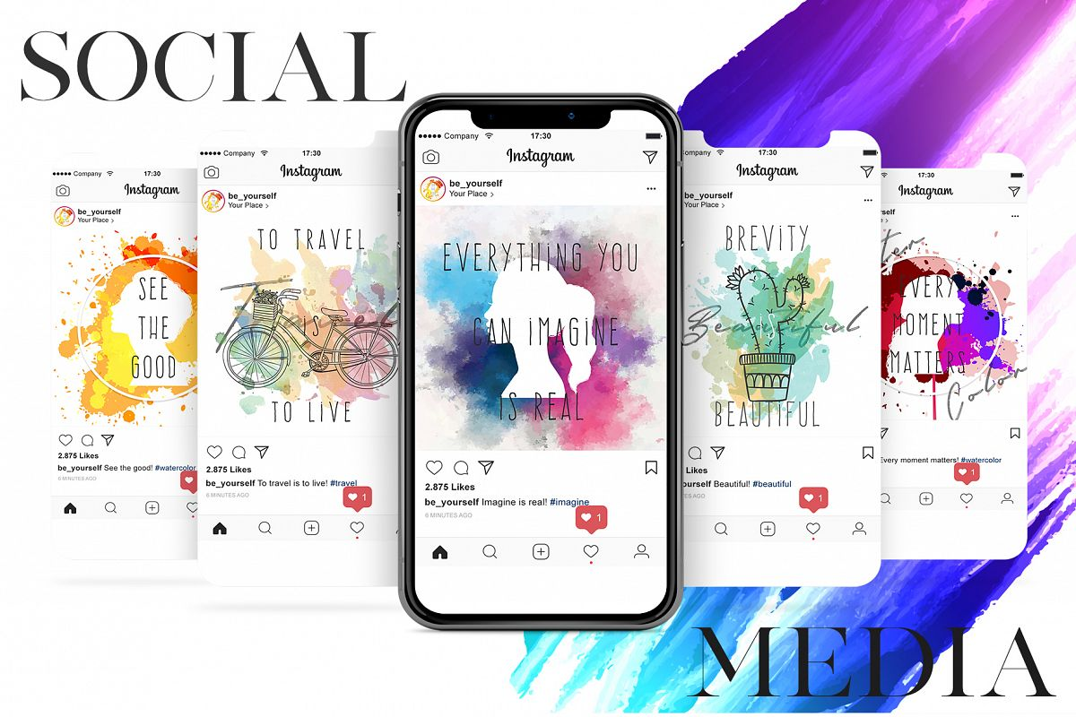 Watercolor Social Media Pack - Instagram Posts example image 1