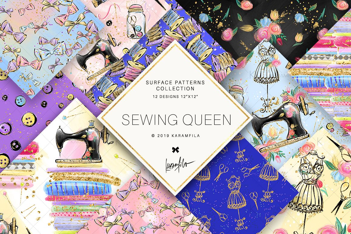 Sewing Girl Digital Paper example image 1