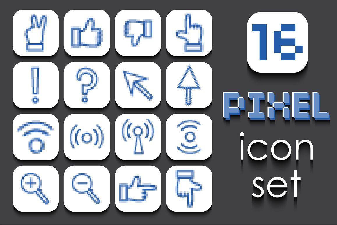 16 Pixel icons set. example image 1
