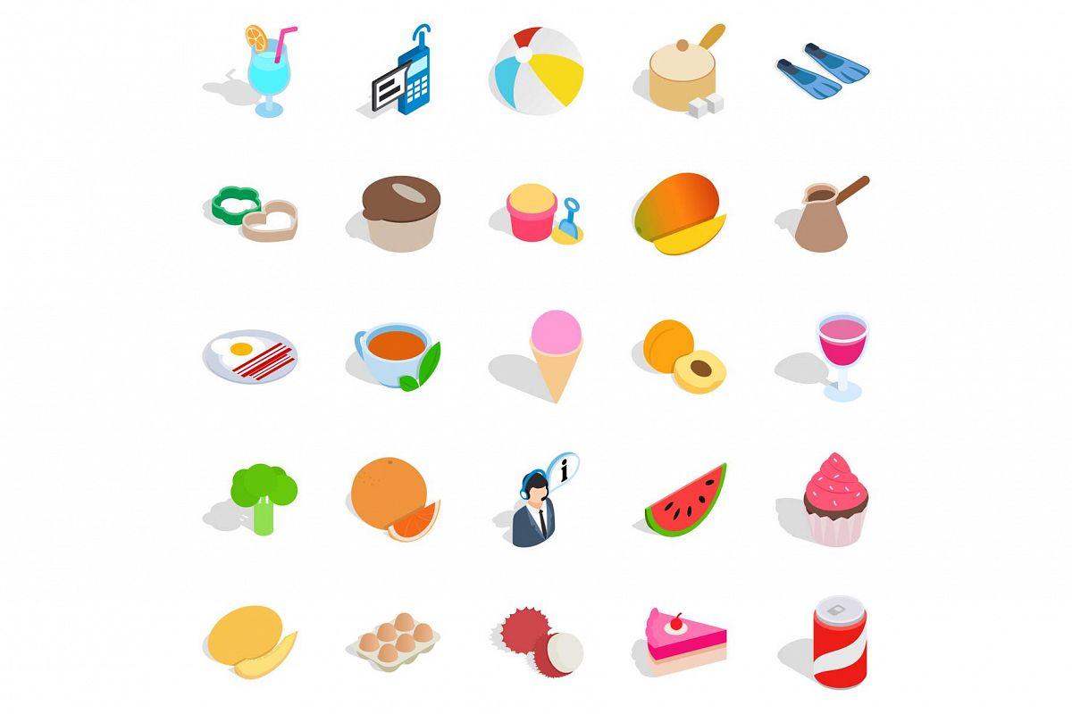 Bite icons set, isometric style example image 1