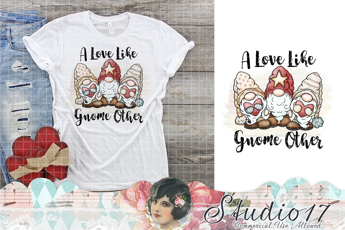 A Love Like Gnome Other Valentine Sublimation Design example image 1