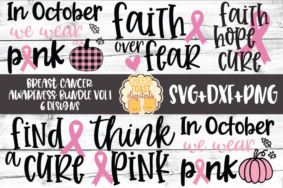 Breast Cancer Awareness Bundle Vol 1 - SVG PNG DXF Cut Files example image 1