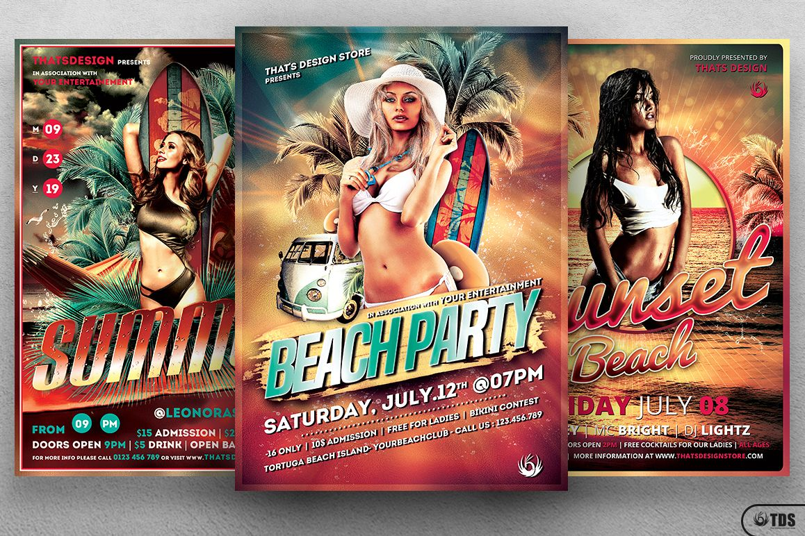 Beach Party Flyer Bundle V1 example image 1