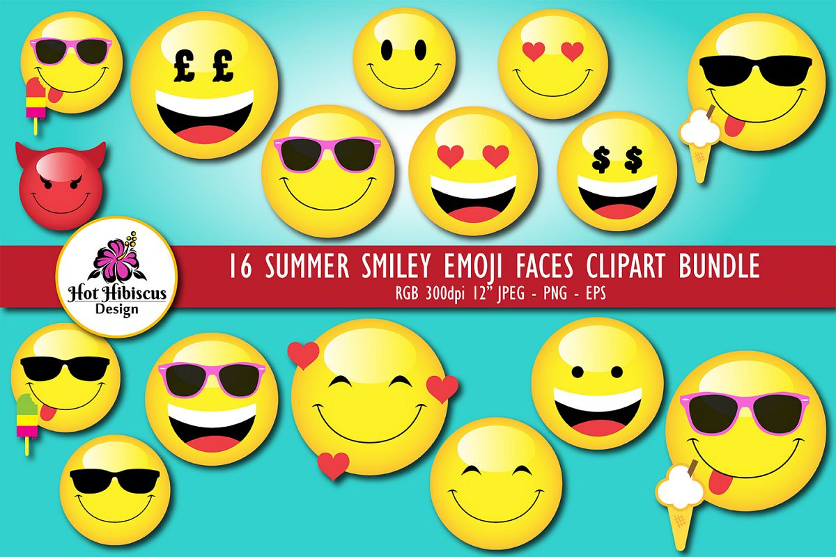 Summer Smiley Emoji Faces Graphic Clipart Bundle example image 1
