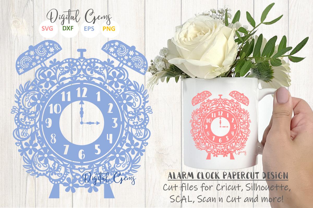 Alarm clock papercut design SVG / EPS / DXF / PNG Files example image 1