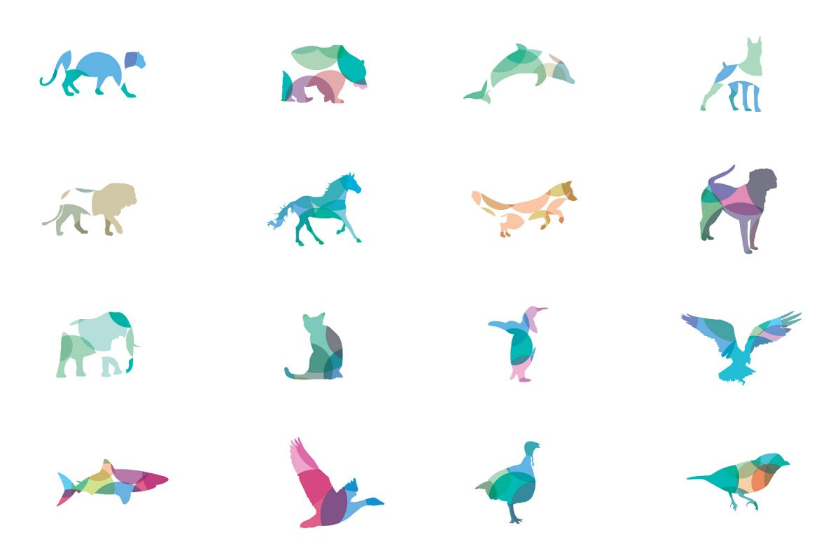 Colorful Animal and Birds vector icons example image 1