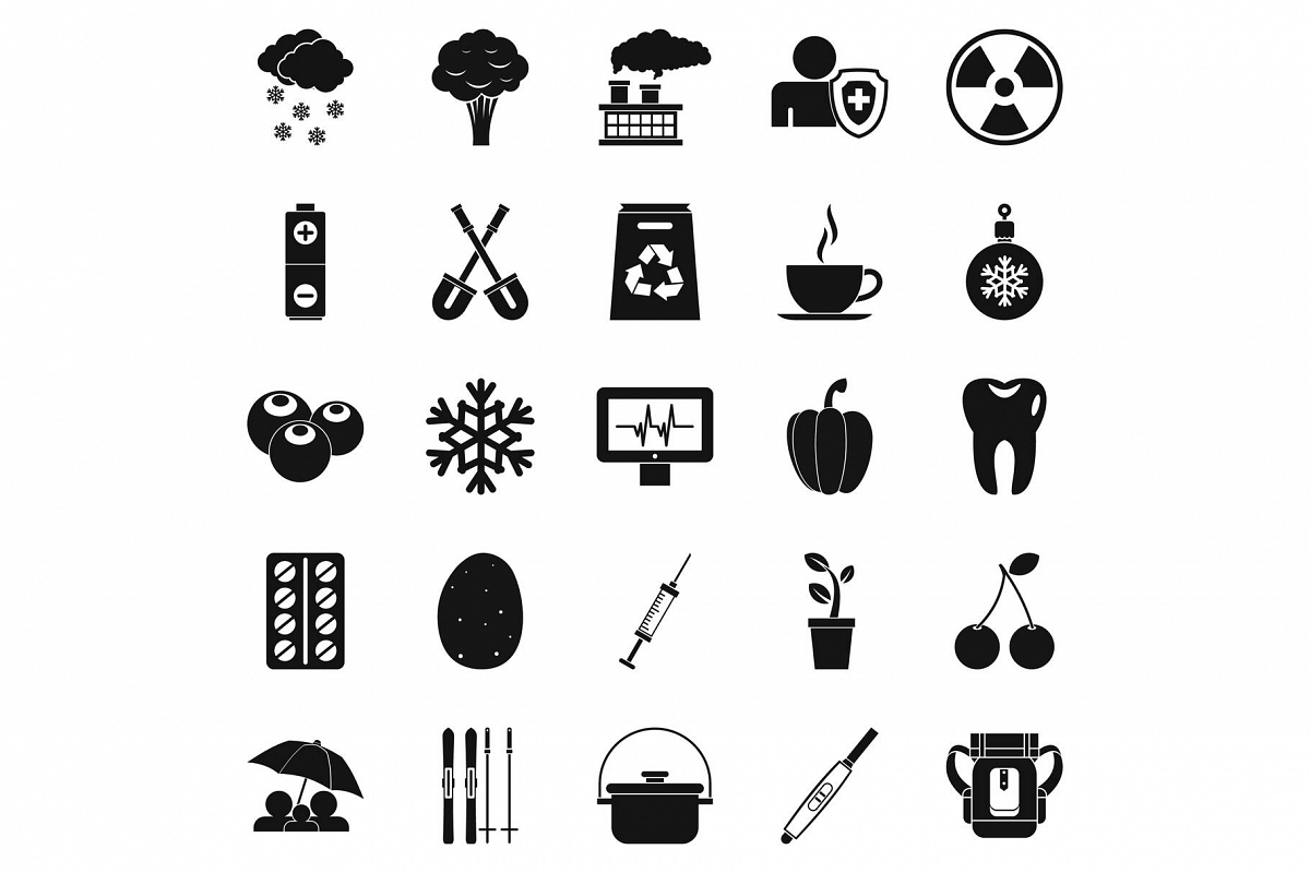 Children health icons set, simple style example image 1