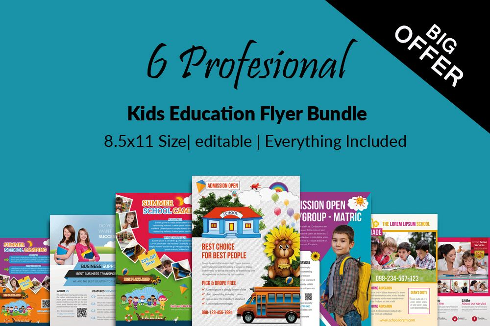 6 Kids School Education Flyers Bundle example image 1