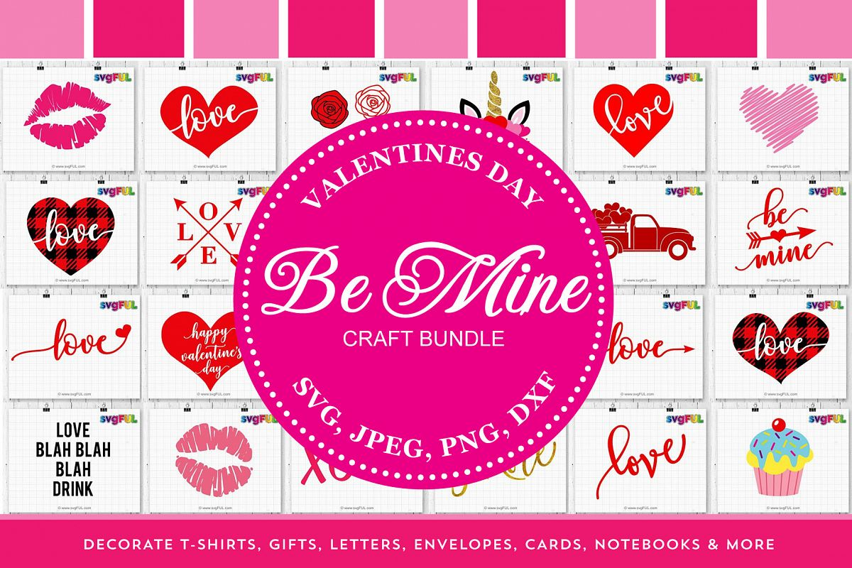 Be Mine Valentines Day Svg Printable Dxf Clipart Craft Bundl example image 1