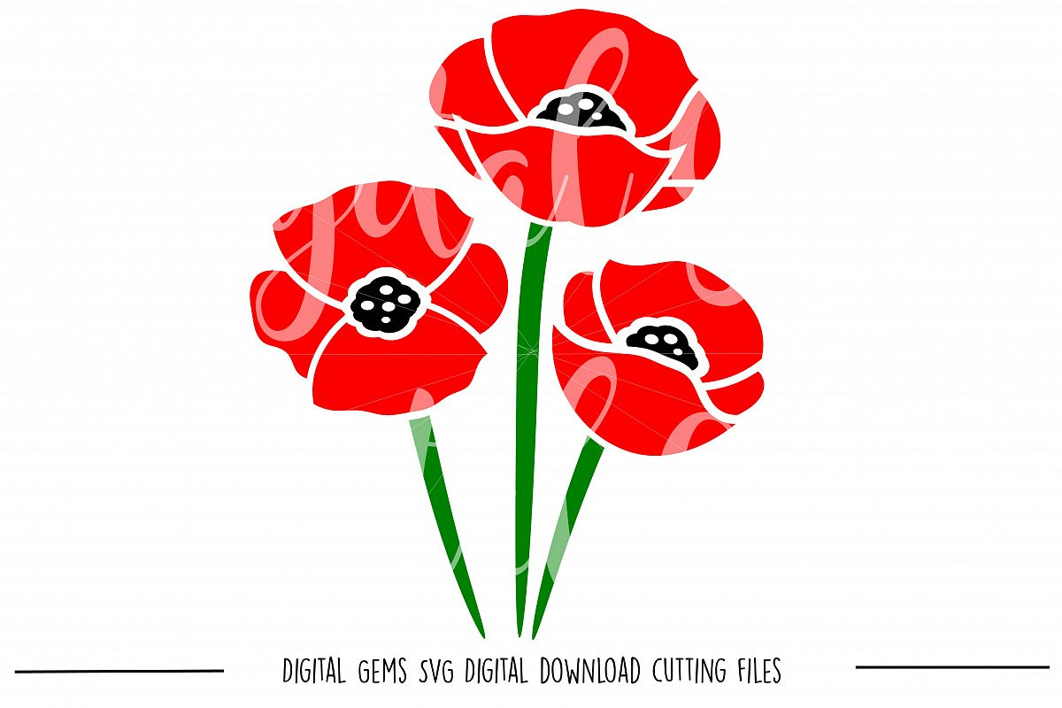 Poppy Flowers SVG / PNG Files example image 1
