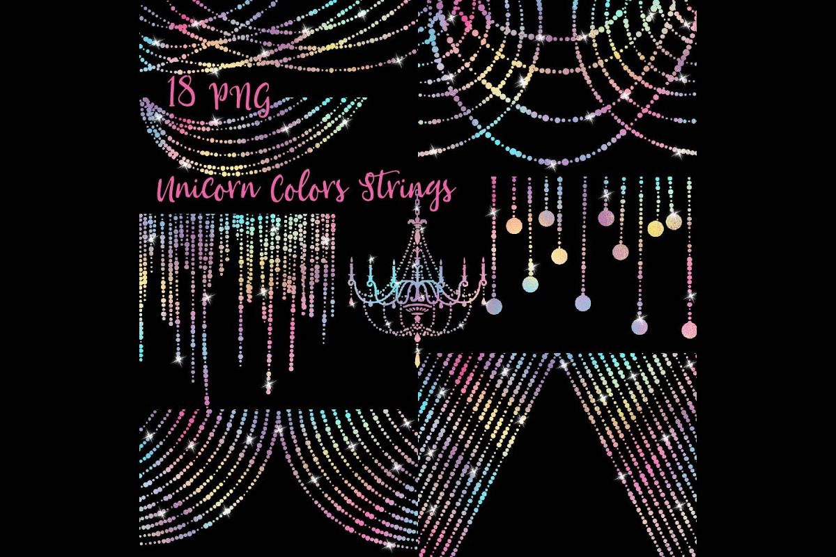 Unicorn Colors String Lights Clipart example image 1
