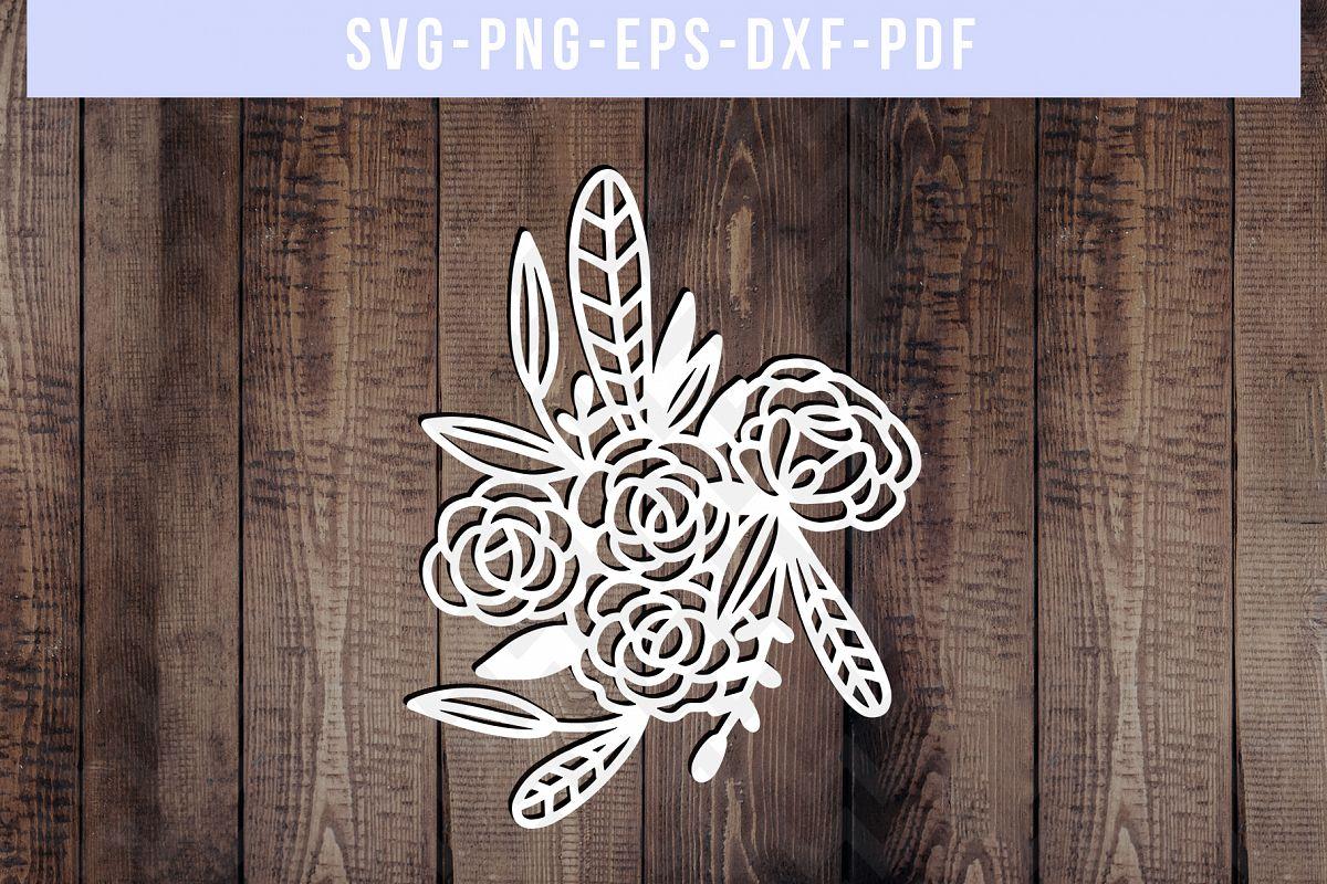 Floral Rose Papercut Template, Flower Arrangement SVG, PDF example image 1