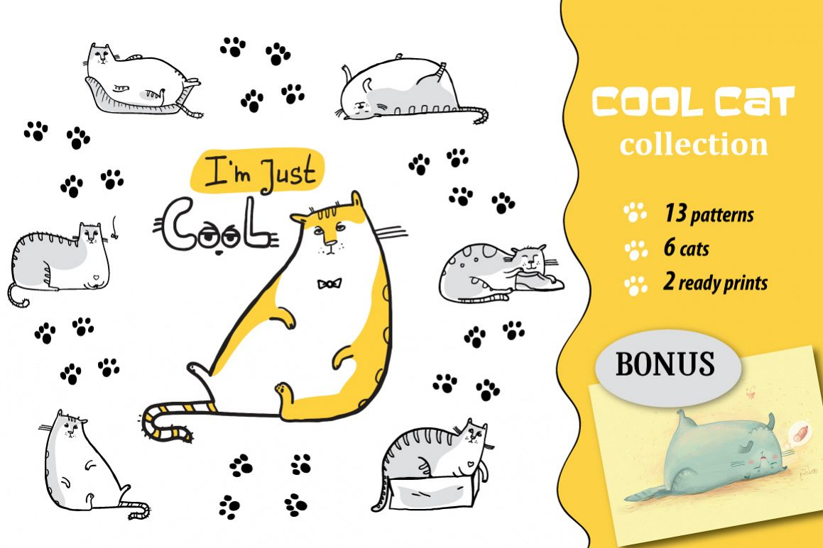 Cool Cat collection patterns, prints example image 1