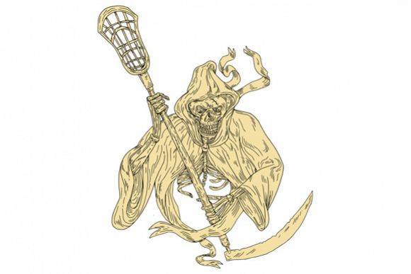 Grim Reaper Lacrosse Stick Drawing example image 1