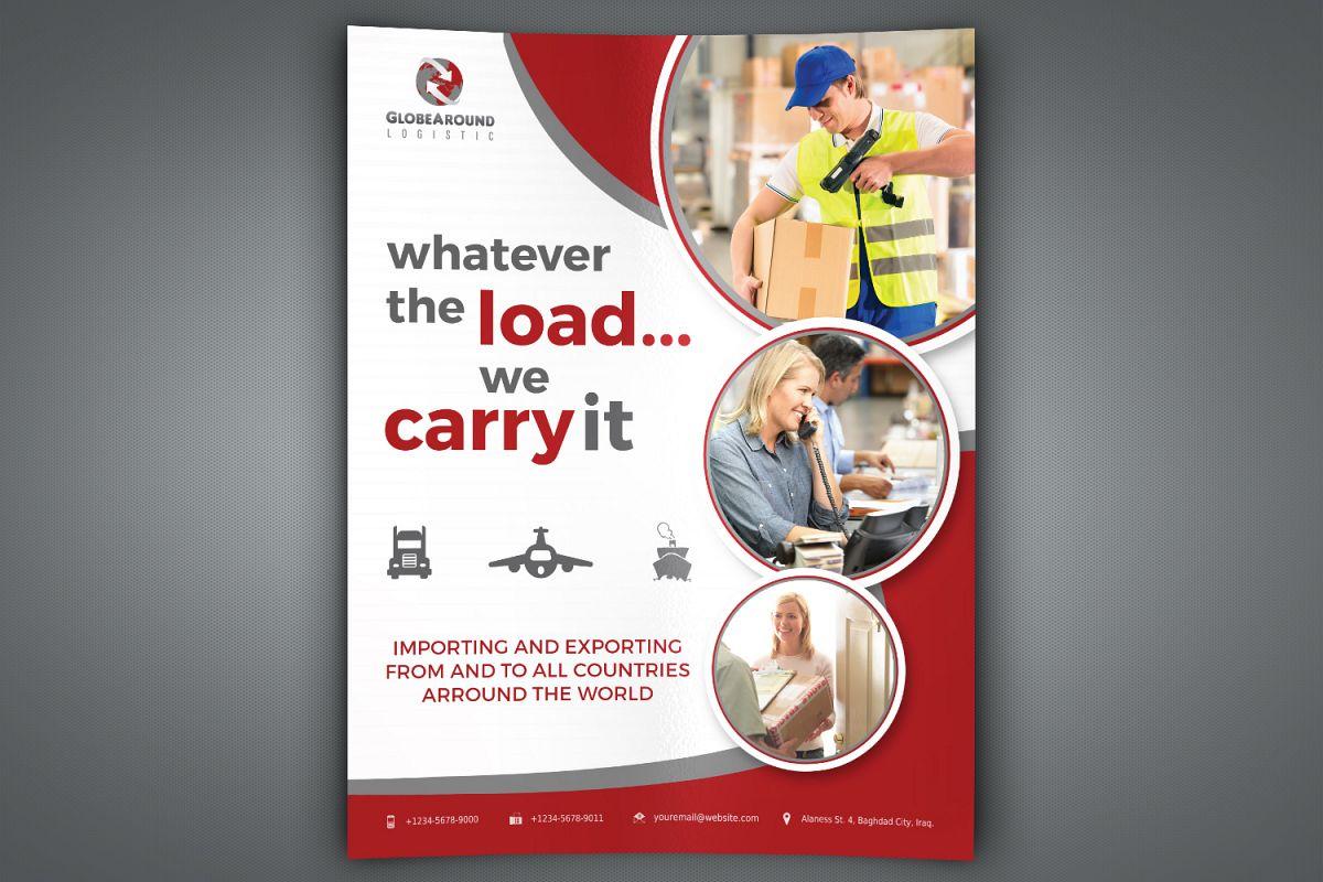 Freight and Logistic Services Flyer Template example image 1